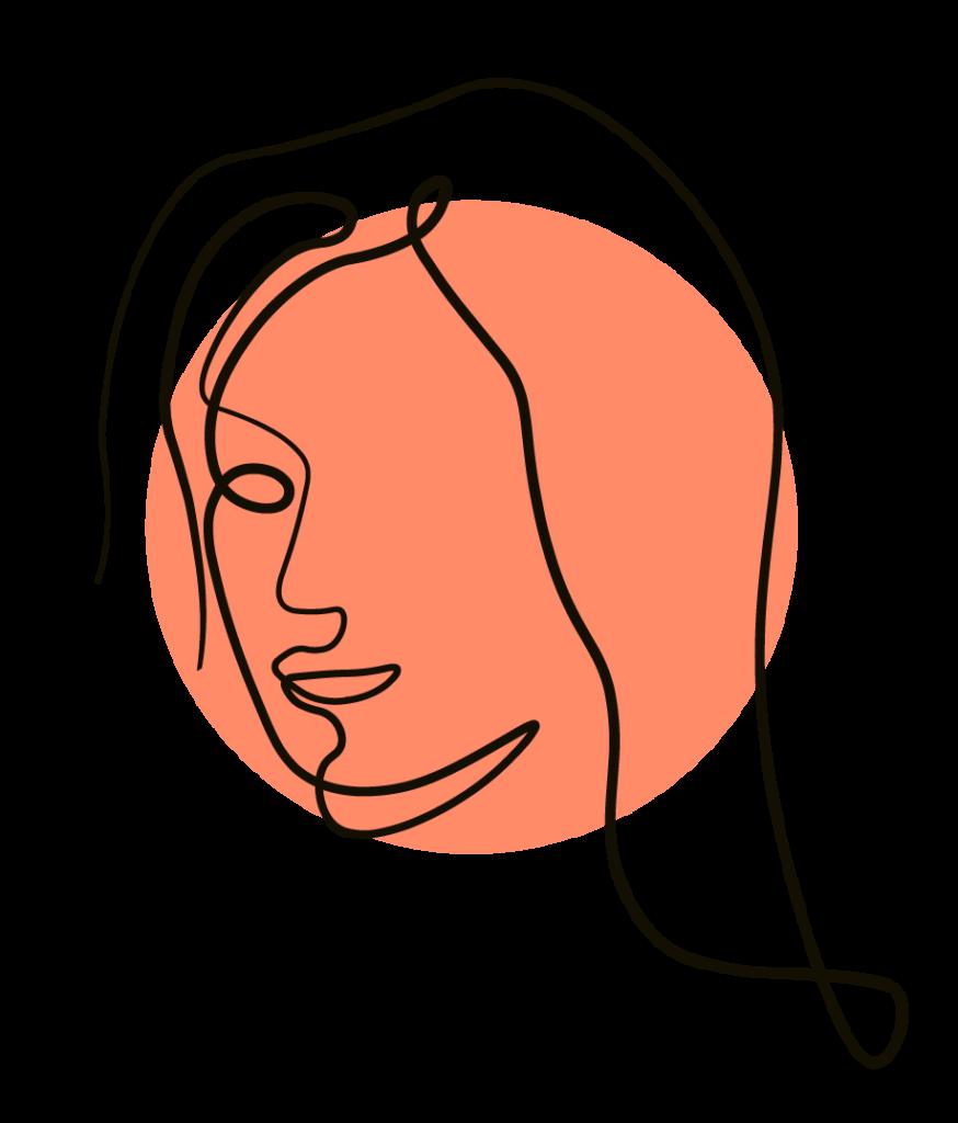Eine handgezeichnete Frau mit langen, offenem Haar, modern, frisch und stylisch, ein Portrait als Illustration zur Kundenreferenz für das Pilates Training.