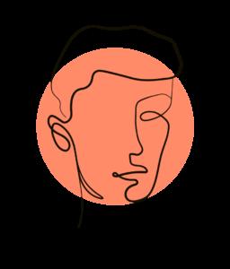 Eine handgezeichnete Mann mit kurzem Haar, modern, frisch und stylisch, ein Portrait als Illustration zur Kundenreferenz für das Pilates Training.