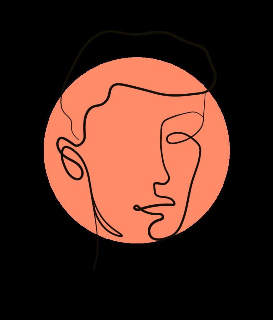 Eine handgezeichnete Mann mit kurzem Haar, modern, frisch und stylisch, ein Portrait als Illustration zur Kundenreferenz für das Pilates Tower Unit Training.